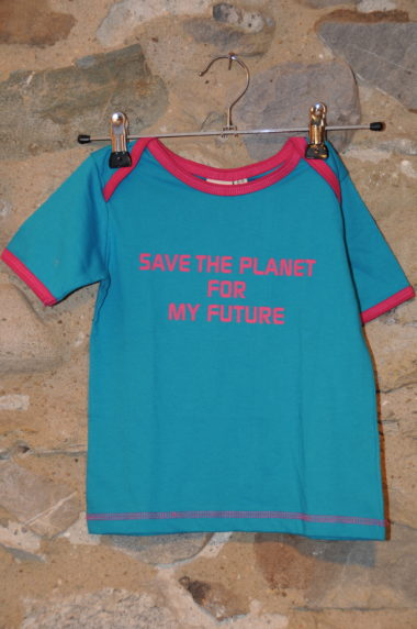 T-shirt bleu save the planet